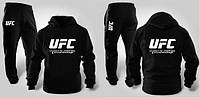 Тонкий спортивный костюм ЮФС UFC черный, кенгуру