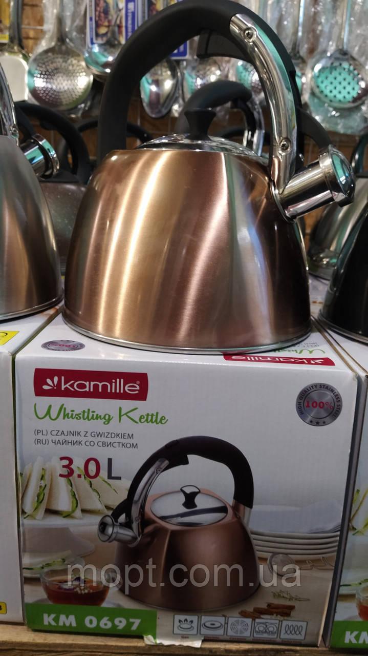 Качественный Чайник KAMILLE (Польша) 3л со свистком Стильный дизайн качественное исполнение