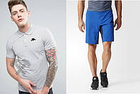 Футболка поло с шортами, Мужской комплект поло и шорты Kappa серый и электрик