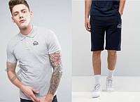 Футболка поло с шортами, Мужской комплект поло и шорты Kappa серый