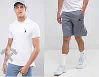 Футболка поло с шортами, Мужской комплект поло и шорты Jordan белый и серый