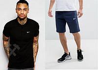 Футболка поло с шортами, Мужской комплект поло и шорты Nike черный и синий