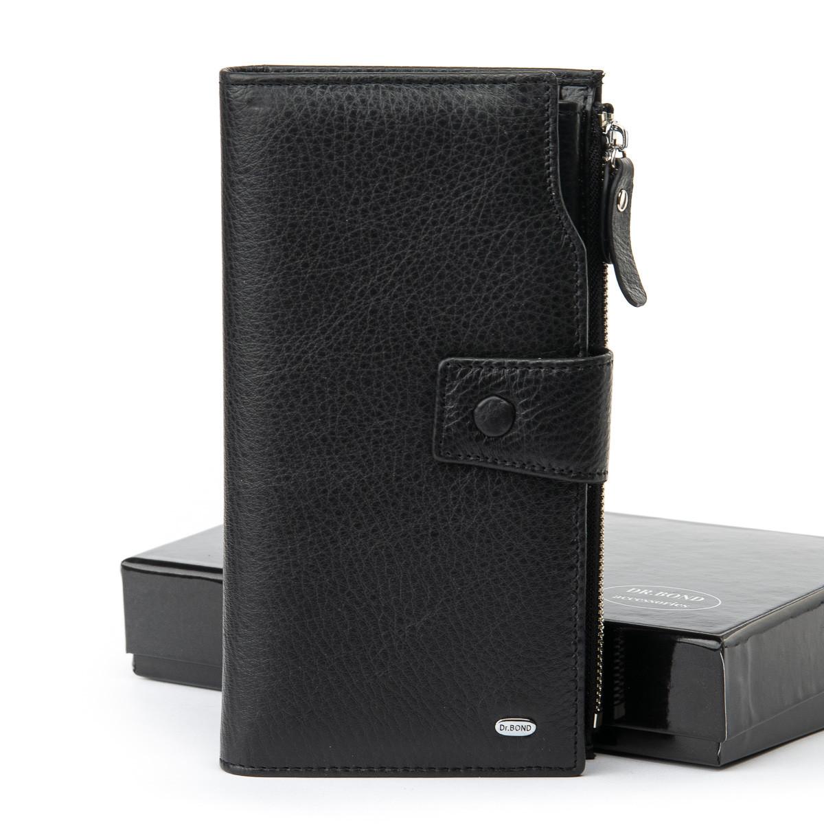 Мужской кожаный кошелек Dr.BOND 10 x 19 x 3 см Черный (mb-2)