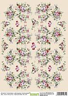 Декупажная карта 31 Обои с большими розами 55  г/м2, А4, 200Х280 мм