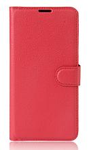 Кожаный чехол-книжка для Huawei P10 Lite красный