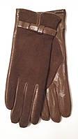 Перчатки женские комбинированные коричневые Sanli