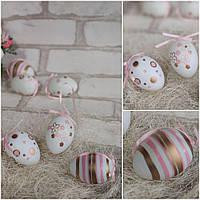 Яйце пластмасове до великодніх свят, декор, декоративне, підвіска, підвіс, на корзину, вис. 6 см., фото 1