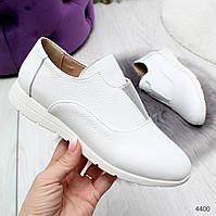 Женские натуральные кожаные белые лоферы туфли мокасины  Lazzi, фото 1