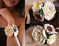 """""""Латте"""" браслет на руку с цветами из полимерной глины"""