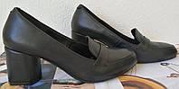 Ferre! Новинка! Стильные  женские кожаные туфельки на удобном каблуке 6 см  черного цвета, фото 1
