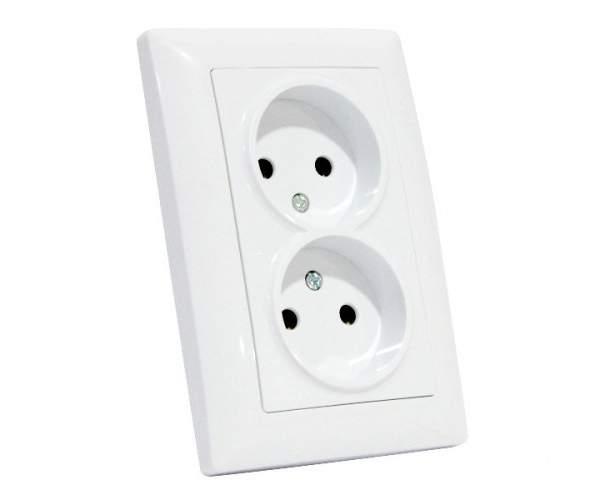 Розетка двойная белая TINA (Horoz Electric)