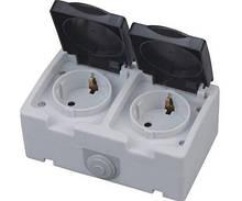 Розетка  накладная 2 заз+крышка  ІР 54 ATOM (Horoz Electric)