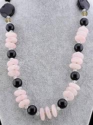 Бусы Агат  Розовый кварц 61 см