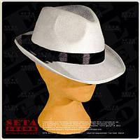 Белая шляпа Федора (Челентанка) с чёрной лентой карнавальная