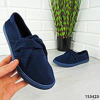 """Мокасины женские, синие """"Biwery"""" текстильные, кроссовки женские, кеды женские, повседневная обувь"""