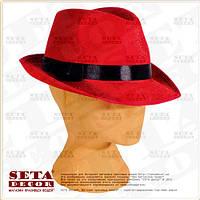 Прокат. Красная шляпа Федора с чёрной лентой карнавальная