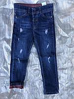 Детские турецкие джинсы с цветным отворотом,разм 3-8 лет