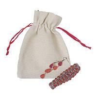 Хлопковые мешочки из текстиля с красной лентой (13,5х17,5)