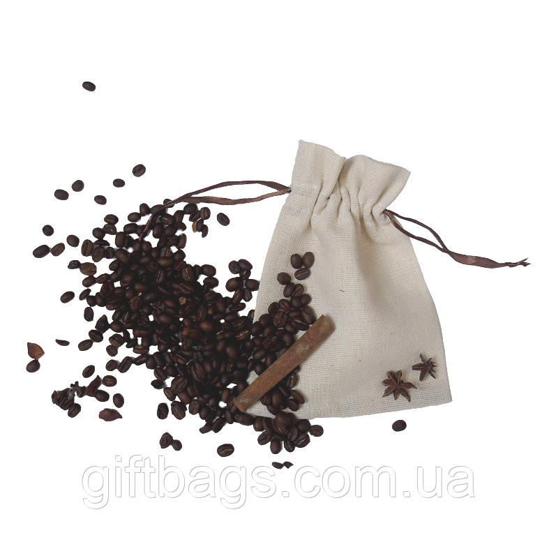 Мішечки з текстилю з коричневою стрічкою (13,5х17,5)