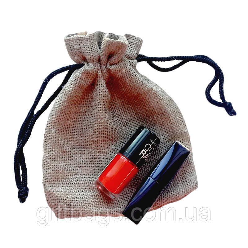 Подарочные мешочки из льна с черным шнурком (13,5х17,5)