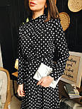 Женское черное платье-миди в горошек с рюшами, фото 2