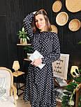 Женское черное платье-миди в горошек с рюшами, фото 3