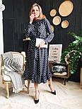 Женское черное платье-миди в горошек с рюшами, фото 5