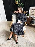 Женское черное платье-миди в горошек с рюшами, фото 4