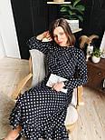 Женское черное платье-миди в горошек с рюшами, фото 7