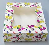 Коробка з віконцем без роздільника розміром 260х260х90 квіти, фото 2