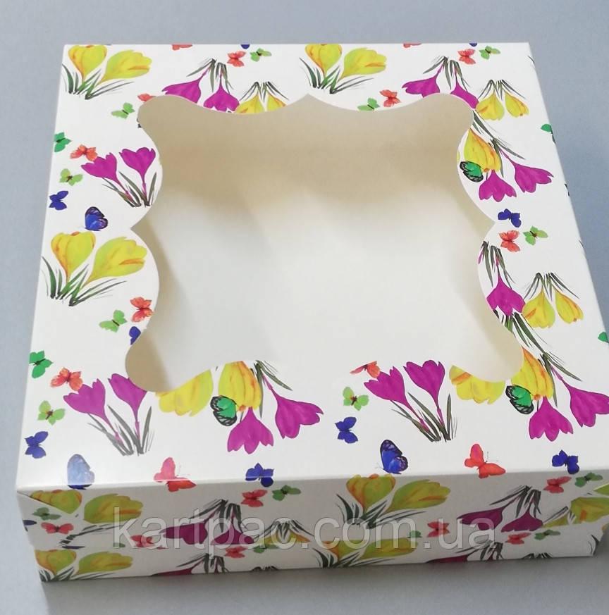 Коробка з віконцем без роздільника розміром 260х260х90 квіти