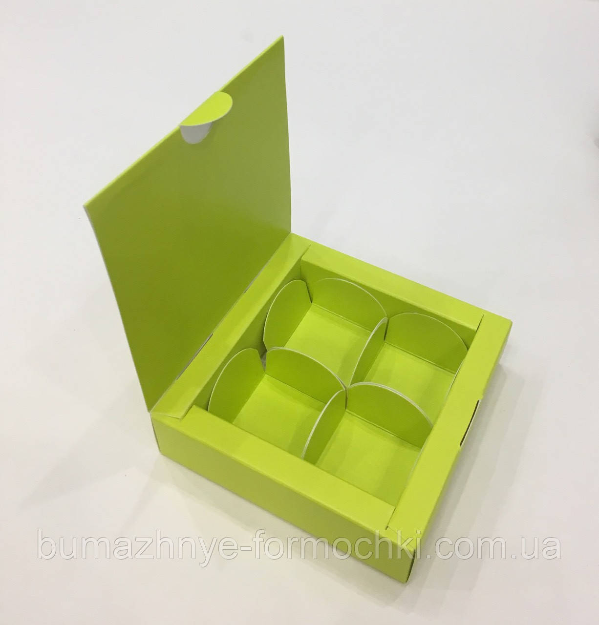 Салатова коробка на 4 конфеты, 110х110х30 мм