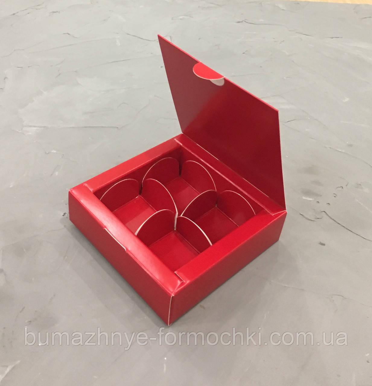 Красная коробка на 4 конфеты, 112х112х30 мм