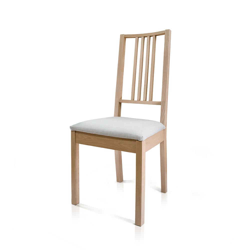 """Стілець """"Проза"""", бук, м`яке сидіння (сірий), прозорий лак"""
