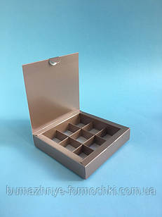 Коробка для конфет, 9 шт,  металлик , 153*153*30