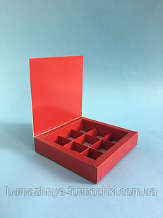 Коробка для конфет, 9 шт,  красная , 153*153*30