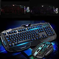 Игровая проводная мышь и клавиатура с LED подсветкой V100