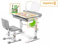 Комплект Evo-kids (стул+стол+полка+лампа) Evo-19 G  (Gray) с лампой - столешница белая / цвет пластика серый