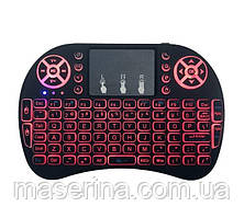 Клавиатура Mini  wireless MWK08/i8 LED  (red)