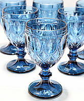 Набор Бокалов 581-070 из синего цветного стекла 300 мл
