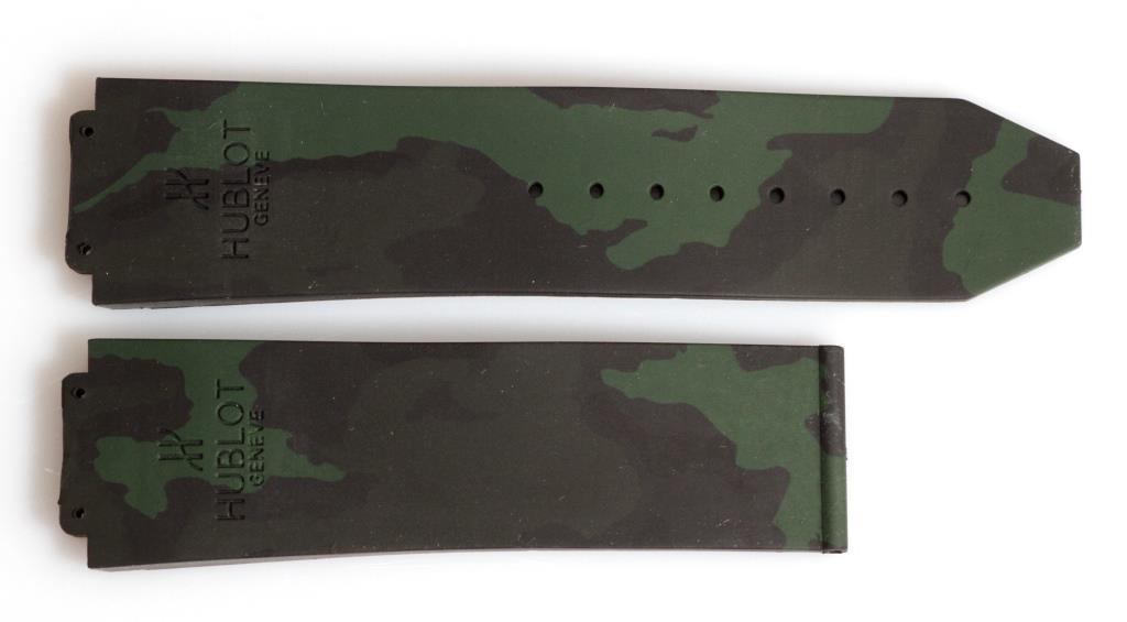 Ремешок для часов Hublot силиконовый 25 мм. Милитари. Цвет хаки