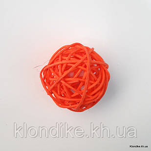 Шарик из ротанга, 5 см, Цвет: Ярко-оранжевый