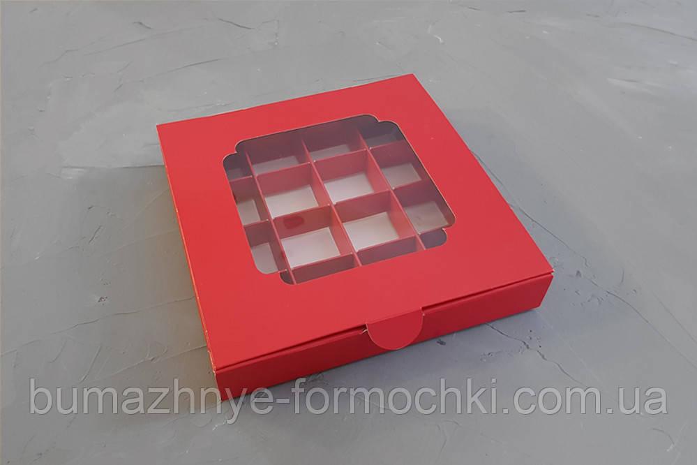 Коробка с окошком,красный, 185*185*30