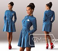 Платье джинсовое в горошек голубое