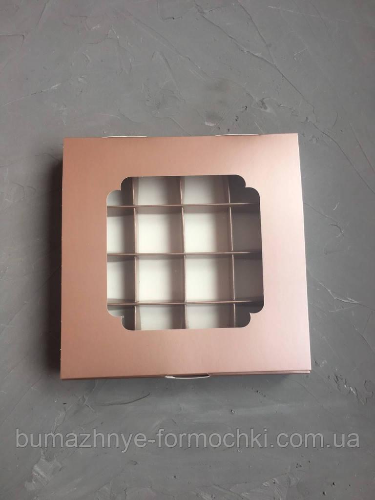Коробка с окошком, металлик, 185*185*30