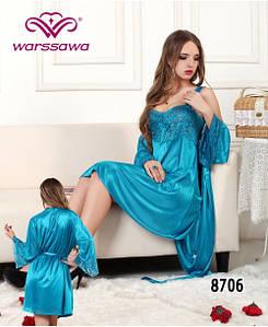 Атласный комплект халат с пеньюаром разных цветов 46-48 р