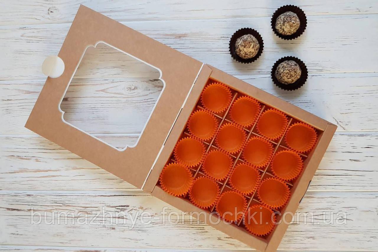 Коробка из крафт-картона на 16 конфет, с окошком, 185х185х30