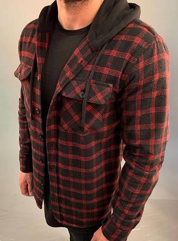 Рубашка мужская утеплённая стильная  в клетку красная с капюшоном на пуговицах, фото 2