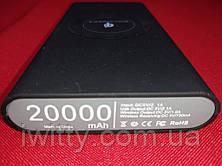 Power Bank с беспроводной зарядкой QI 20000 мАч (Черный), фото 2
