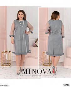 Нарядное и женственное платье батал с полупрозрачным верхом и подкладкой. Размеры: 50,52,54,56